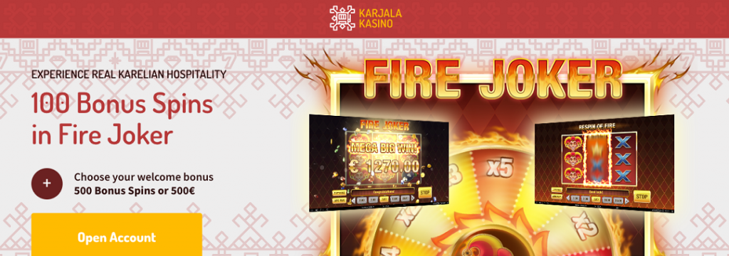 Karjalakasino-100 bonus spins on sign up