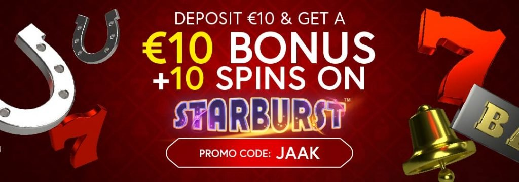 JaakCasino - 10€ Bonus + 10 free spins on Starburst