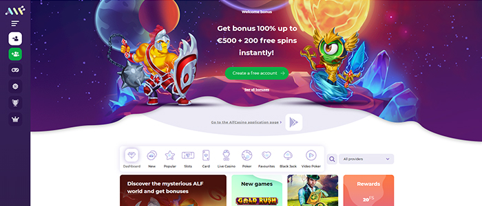 AlfCasino - €500 and 200 free spins