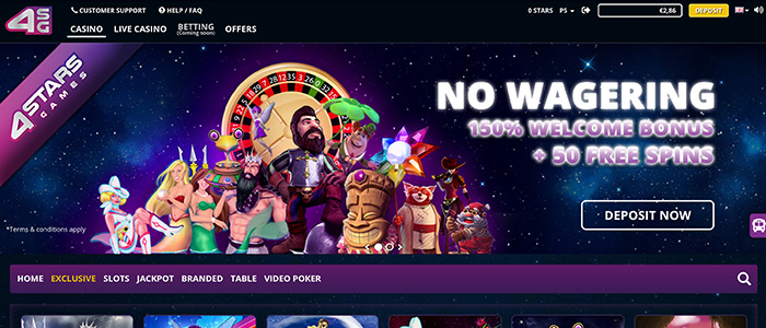 4Starsgames - 50 free spins, no deposit + 150% welcome bonus