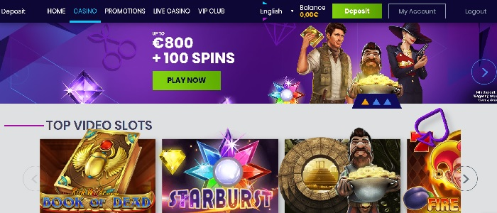 Casiplay Casino - 100 free spins and €800 bonus