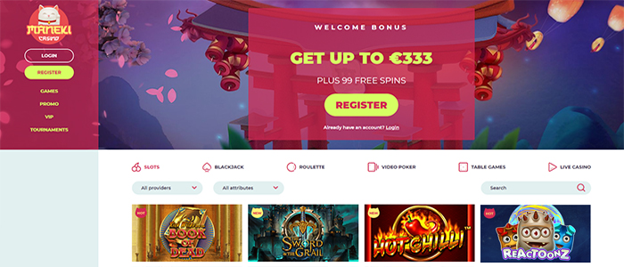 Maneki Casino - Welcome Bonus 333 Euro + 99 Free Spins