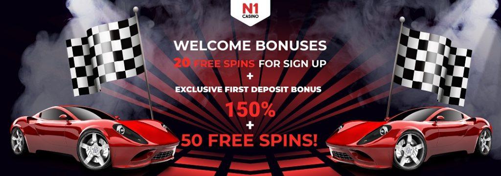 N1 Casino - 20 free spins, no deposit required