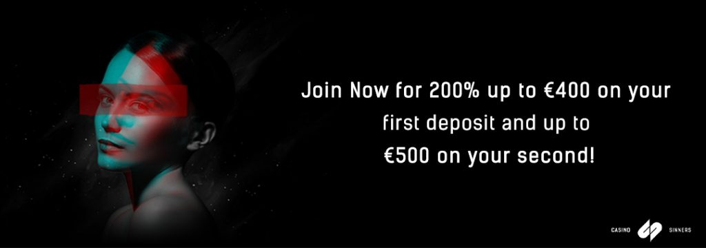 CasinoSinners - 200% first deposit bonus of up to €400