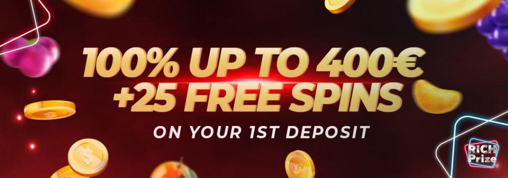 RichPrize - 400 euro bonus + 25 free spins
